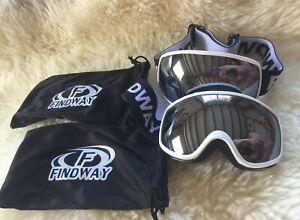 Findway Kids Age 3-8 Ski Googles X 2 pairs Silver Compatible with Helmet Bundle