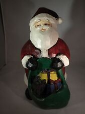 Wooden Santa Figurine (large 12 inches tall, sturdy/heavy)