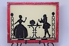 "Vintage Silhouette Art ""The Toast"" Under Glass w/ Mirror Metal Frame  Free Easel"