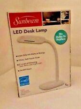 Sunbeam LED Desk Lamp 3 Touch Dimming Flexible Rotating Light Energy Star WHITE