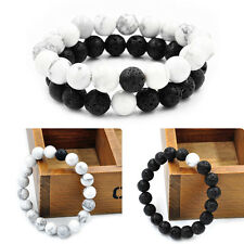 Couples Distance Bracelet Bangle Yin Yang Lava Bead Matching Anniversary Gift