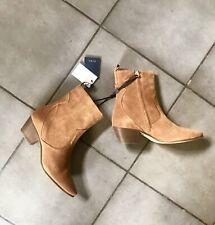 Zara Tan Brown Leather Cowboy Heel Ankle Boots UK4 EU37 US6.5 # 522