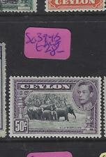 CEYLON   (P1701BB)  KGVI   50C  ELEPHANTS  SG 394B   MOG