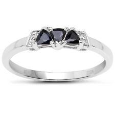 Sterling Silver Sapphire & Diamond  Engagement Ring, Ring Size HIJKLMNOPQRSTUV