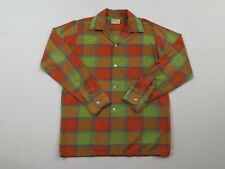 Vintage Brookdale Mens Madras Plaid Shirt Sz S 14 14 1/2 Long Sleeve Button Up