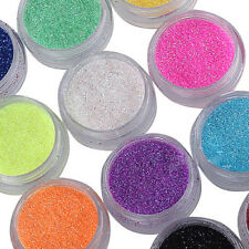 12 Mixed Colors Nail Art Decoration Powder Glitter Set for UV Gel Tips Hot Sale