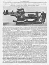 1909 Antique Engineering Print - Horizontal Drilling and Screw Cutting Machine