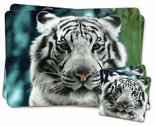 Siberian White Tiger Twin 2x Placemats+2x Coasters Set in Gift Box, AT-13PC