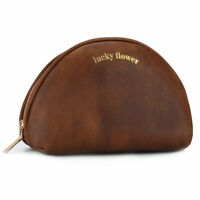 Makeup Bag Leather Travel Portable Cosmetic Bag for women Purse (Brown) (Medium)