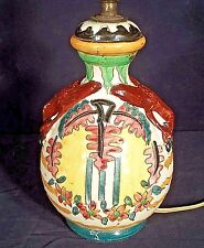COLORFUL ANTIQUE EARLY 20th CENTURY MAJOLICA POTTERY LAMP