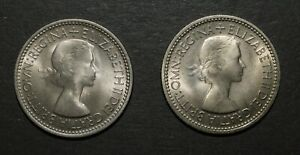1953 SHILLINGS. PAIR. ENGLISH AND SCOTTISH. UNCIRCULATED