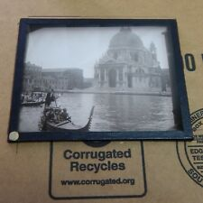 VINTAGE  BLACK AND WHITE MAGIC LANTERN GLASS SLIDE VIEW OF VINICE ITALY