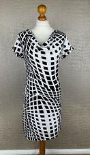 HEINE Damen Gr. 36 Kleid Etuikleid schwarz weiß Wasserfall Dress Stretch 4B3