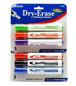 Bazic Dry Erase Whiteboard Marker 6 Colors Chisel Tip Low Odor Ink 6 PC
