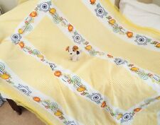 Large yellow checked plaid lace edge country tablecloth picnic kitchen