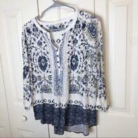 Lucky Brand Boho 3/4 Sleeves Blouse Size Medium