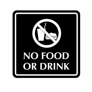 No Food or Drink Sign Plaque Outdoor UV Stable