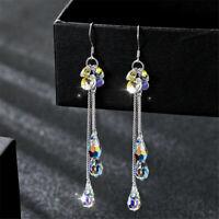 Crystal Charm Rhinestone Dangle Earrings Bride Jewelry Long Tassel Ear Stud~
