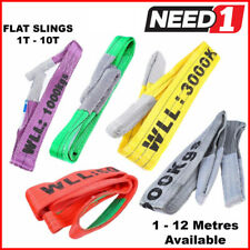 LIFT SAFE Flat Slings 1T-10T x 1M-12M c/w Test Certificate 100% Polyester Sling