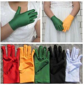 Girl Children Kids Party Fancy Dance Prom Ball Costume Opera SHORT Gloves 4-12Yr