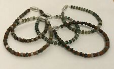 Natural Moss Agate Wheel & Silver Spacer Bead Bracelets with Plated Clasps