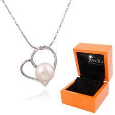 Perlen Herz Anhänger mit Halskette aus 925 Silber mit 10mm Zuchtperle + LED Box