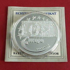 BELGIUM 1997 EUROPE COMMEMORATIVE 40mm .999 FINE SILVER PROOF MEDAL A - coa