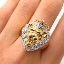 925 Sterling Gold Plated Pave Swarovski Crystal Lion King Men's Ring Size 10 1/4