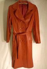 Rust/Orange Small Trojan Leather Ladies Trenchcoat Jacket Duster 70s Vintage