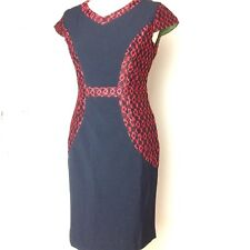 COLLECTION LONDON Dress Pencil Wiggle Hourglass 10 Black Red Lace Below Knee