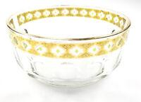 Arcoroc 22K Gold Gilt Valencia France Crystal Bowl Green Diamonds Vintage