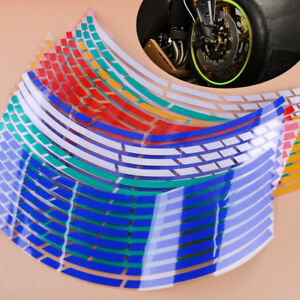 """16 Strips Reflective Motorcycle Car Wheel Rim Stripe Tape Decal Stickers 17""""-19"""""""