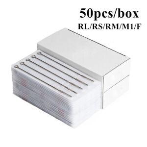 Professional 50pcs/box Disposable Sterile Tattoo Needles  RL RS RM M1 F
