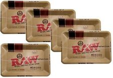 """WHOLESALE LOT of 5 -  RAW PAPERS Vintage Style METAL ROLLING """"MINI"""" TRAYS 7""""x5"""""""