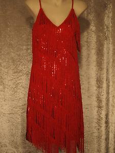 1920 Gatsby Style Flapper Party Dress Fringed Sequins Shift - Plain Back  M,L,XL