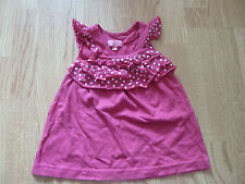 Baby Girl's cherry pink DRESS / TOP 6 + months Minoti frilly polkadot front
