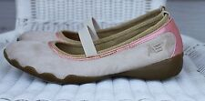 American Eagle Ivory & Pink Women's 8 Mary Jane Slip On Shoes Flats Elastic Band