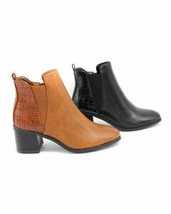 Damen Klassische Stiefeletten Ankle Boots Pumps Blockabsatz Trendy Winter Schuhe