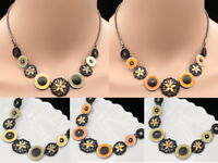 Best Trends round enamel flower lucite crystal choker chain necklace jewelry K04