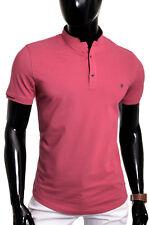Men's Casual Grandad Collar Polo T Shirt UK Size Short Sleeve 100% Cotton Plain