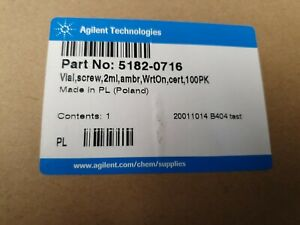 Agilent 5182-0716 Amber 2mL Screw Cap Vials, Write on,cert,100 pieces