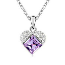 18K WHITE GOLD PLATED & GENUINE AUSTRIAN CRYSTAL & PURPLE CZ HEART NECKLACE