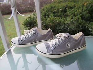 CROCS Grey Canvas Lightweight Lace-Up Comfort Sneakers Womens size 10