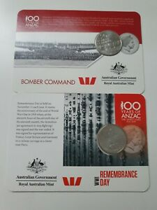 2x 100 Years Of Anzac 20 Cent Coins WWI Remembrance & Bomber Command collectable