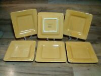 "6 - POTTERY BARN OUTLET - SAUSALITO - AMBER YELLOW GOLD - 8"" SQUARE PLATES - EUC"