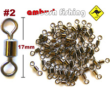 50 ROLLING FISHING SWIVELS SIZE #2 Test 43kg black nickel FISHING TACKLE BULK