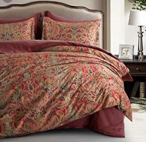 New Eikei Red Paisley Floral King Duvet n Pillow Shams Set