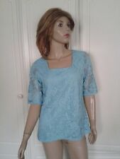 B M COLLECTION TURQUOISE LACE SHORT SLEEVES LINED TOP SIZE 12