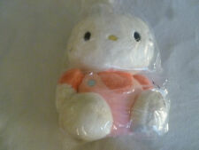 "VINTAGE 1987 13"" HELLO KITTY PLUSH STUFFED ANIMAL SANRIO PINK OVERALLS JAPAN TOY"