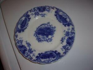 VINTAGE FLOW BLUE DESSERT PLATE HOMESTEAD PATTERN J & G MEAKIN HAILEY ENGLAND